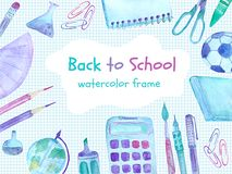 Back to school watercolor frame with colorful school supplies royalty free stock photography