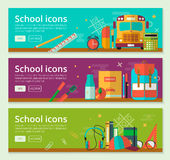 Back To School banner concept design. Vector horizontal banners of education with school items. Royalty Free Stock Images