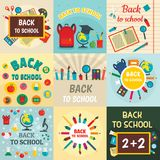 Back to school banner concept set, flat style royalty free illustration