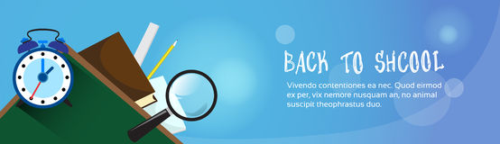 Back To School Banner With Copy Space. Flat Vector Illustration Stock Image