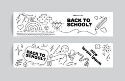 Back to school banner design. Hand drawn doodles. Royalty Free Stock Photo