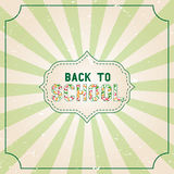 Back to school banner design with lettering typography with burst on a retro textured background. Vector illustration Royalty Free Stock Images
