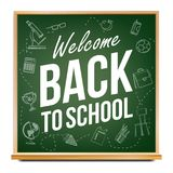 Back To School Banner Vector. Classroom Blackboard. Sale Background. Welcome. Education Related. Realistic Illustration. Back To School Banner Design Vector Vector Illustration
