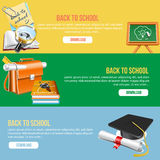 Back to school banner. 3 banner in education or school theme Royalty Free Stock Photo