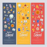 Back to school banner with flat vector icons Stock Image