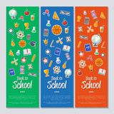 Back to school banner with flat vector icons Stock Photo