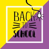 Back to school banner with hand drawn typography and light bulb on punchy pastel background. Unique and beauty pattern stock illustration