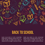 Back to School banner isolated on dark background with doodle elements. Vector illustration can be used for greeting cards, clothes Stock Images
