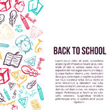 Back to School banner isolated on white background with doodle elements.. Vector illustration can be used for greeting cards, clothes Royalty Free Stock Photography