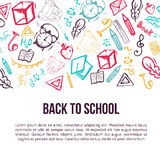 Back to School banner isolated on white background with doodle elements. Vector illustration can be used for greeting cards, clothes Stock Photography