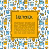 Back to school banner with pattern of school supplies. Welcome back to school brochure. Colorful yellow and blue banner. Learning and education. Vector vector illustration