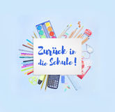 Back to School banner saying Back to School in German Zurück in die Schule Stock Images