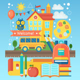 Back To School Banner with school building, bus and education icons. Vector Flat Illustration. School Education Concept. Vector illustration Stock Photo