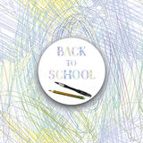 Back to school. Banner with school supplies over kids color penc Stock Photo