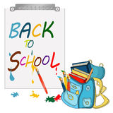 Back to school banner,Schoolbag, Schoolbag with brushes and colorful books. Back to school banner, sign, Schoolbag with brushes and colorful books Stock Images