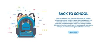 Back to school banner. Back to scool banner. Blue colored school backpack with school accessoires. Backpack with pockets and zipper. Education and study back to royalty free illustration