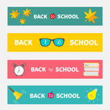 Back to school banner set Bell, alarm clock Stock Photos