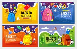 Back to school banner set. Colorful back to school templates for invitation, poster, banner, promotion,sale etc. School supplies royalty free illustration
