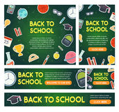 Back to school banner set different sizes Royalty Free Stock Images