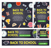 Back to school banner set different sizes Royalty Free Stock Photos