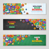 Back To School Banner Set With Flat Icons on Royalty Free Stock Image