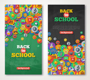Back To School Banner Set With Flat Icons on Stock Photography