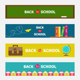 Back to school banner set Green board, world globe Royalty Free Stock Image