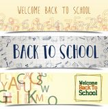 Back to school banner set Royalty Free Stock Images