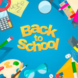 Back to school banner. Set of school object vector illustration