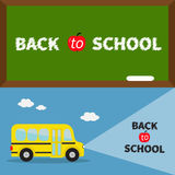 Back to school banner set. Yellow school bus. Light from headlights. Green board with chalk on the wall. Cartoon clipart. Transpor Royalty Free Stock Photo