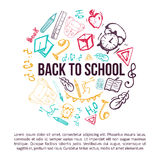 Back to School banner in shape of circle isolated on white background. With doodle elements. Vector illustration can be used for greeting cards, clothes Stock Photography
