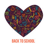 Back to School banner in shape of heart isolated on white background. With doodle elements. Vector illustration can be used for greeting cards, clothes Stock Image