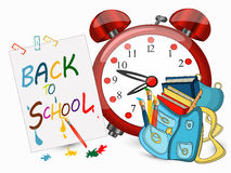 Back to school banner. Back to school sign banner, Big alarm clock, Schoolbag with brushes, Study icon,vector Stock Photography