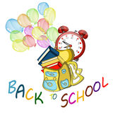 Back to school banner. Sign, Big red alarm clock,Schoolbag with brushes and colors, study icon Stock Images
