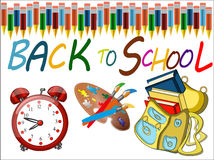 Back to school banner. Sign, big red alarm clock,schoolbag,Colour pencils ,Study icon, white background ,vector Stock Images