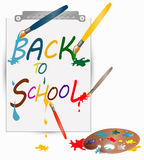 Back to school banner. Sign, color palette with brushes, vector Royalty Free Stock Images