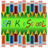 Back to school banner. Sign, Colour pencils ,green board,Study icon,background ,vector Royalty Free Stock Photography