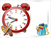Back to school banner. Back to school sign banner, coloured red alarm big clock, Schoolbag with brushes,color palette, Study icon,vector Stock Photo
