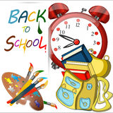 Back to school banner. Back to school sign banner, coloured red alarm big clock, Schoolbag with brushes,color palette, Study icon,vector Royalty Free Stock Photos