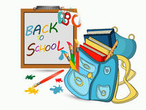 Back to school banner. Back to school sign, banner, Schoolbagwith brushes and books, Study icon,vector Royalty Free Stock Images