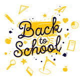 Back to school banner with stationary and learning Stock Image