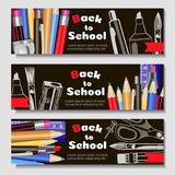 Back to school, banner. Templates with supplies tools. Place for your text. Layered realistic 3d, vector. Royalty Free Stock Image