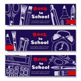 Back to school, banner. Templates with supplies tools. Place for your text. Layered realistic 3d, vector. Stock Photo