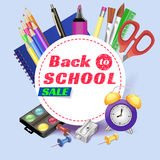 Back to school. banner. Templates with supplies tools. Place for your text. Place for your text. Layered realistic. Vector illustration stock illustration