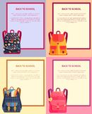 Back to School Banner with Text Backpacks Set Royalty Free Stock Photos