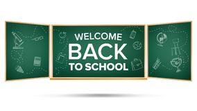 Back To School Banner Vector. Green. Classroom Chalkboard. Doodle Icons. Sale Flyer. Welcome. Retail Marketing Promotion. Back To School Banner Vector. Classroom vector illustration