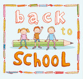 Back to school, Banners and Bookmarks, vector illustration.  Royalty Free Stock Photo