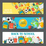 Back to school banners with education items. Illustration of colorful supplies and stationery Stock Photography