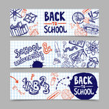 Back To School Banners. Back to school horizontal banners with hand drawn education symbols on squared paper background vector illustration stock illustration