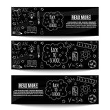 Back to school banners. Back to school. Posters or banners with hand drawn doodles. Vector illustration Royalty Free Stock Photos